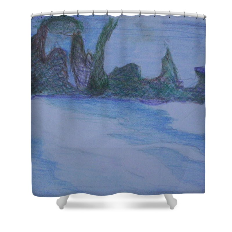 Abstract Painting Shower Curtain featuring the painting Overlap by Suzanne Udell Levinger