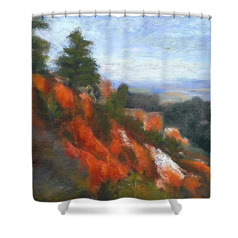 Southwest Shower Curtain featuring the painting Overlook by Gail Kirtz