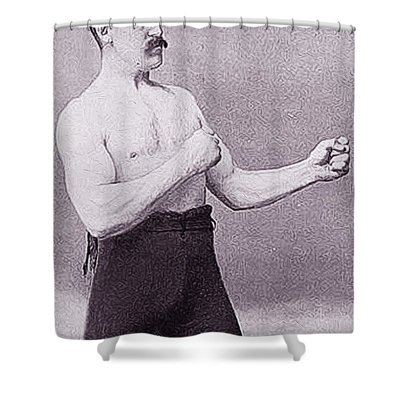 Overly Manly Man Shower Curtain Featuring The Painting By Queso Espinosa