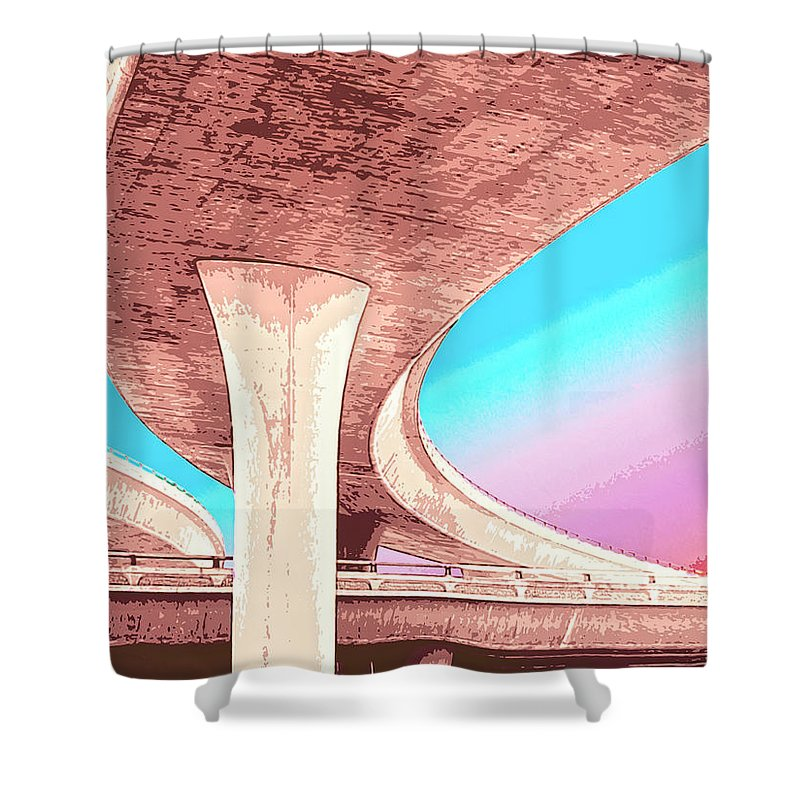 Overpass Shower Curtain featuring the mixed media Overpass Two by Dominic Piperata