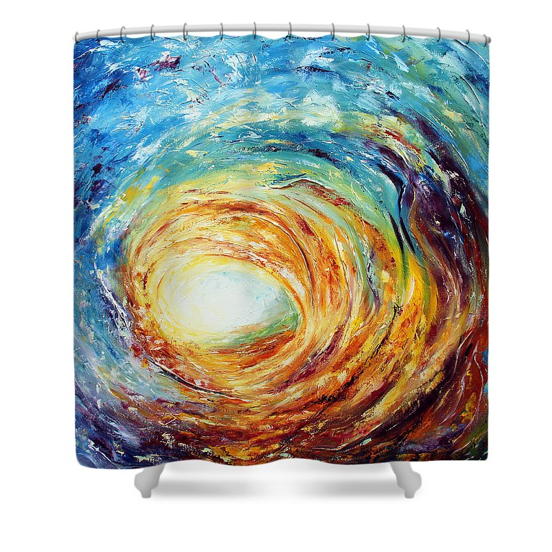 Ocean Shower Curtain featuring the painting Overwhelmed by Meaghan Troup