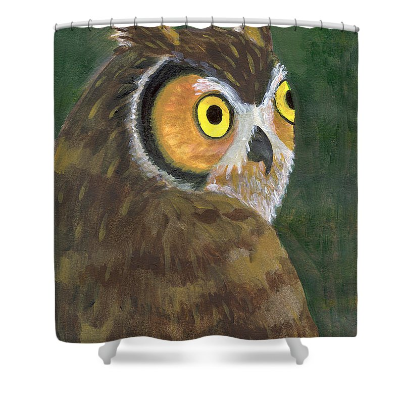 Owl Shower Curtain featuring the painting Owl 2009 by Lilibeth Andre