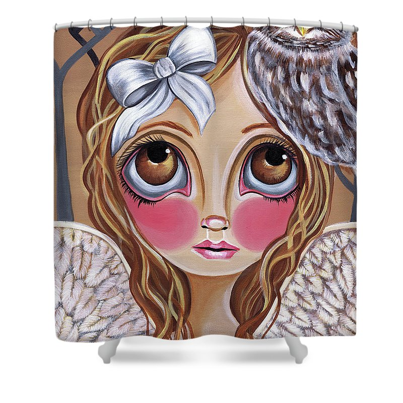 Owl Shower Curtain featuring the painting Owl Angel by Jaz Higgins