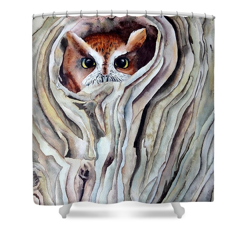 Owl Shower Curtain featuring the painting Owl by Laurel Best