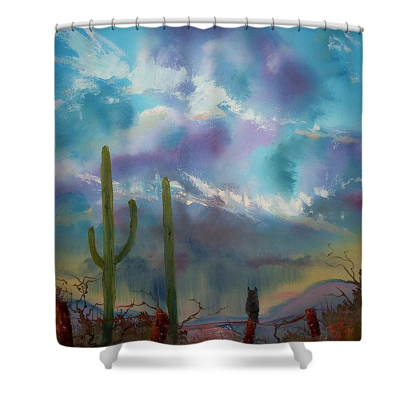 Southwest Shower Curtain featuring the painting Owl Parking Only by Patrick Trotter