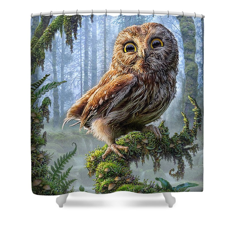 Owl Shower Curtain featuring the mixed media Owl Perch by Phil Jaeger