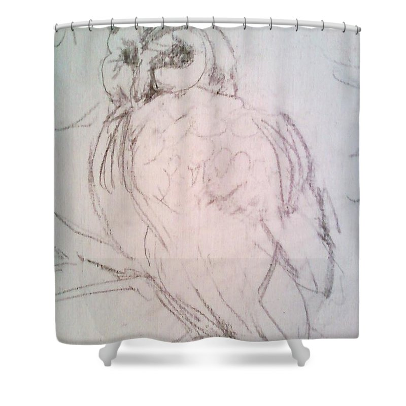 Owl Shower Curtain featuring the drawing owl by Todd Artist