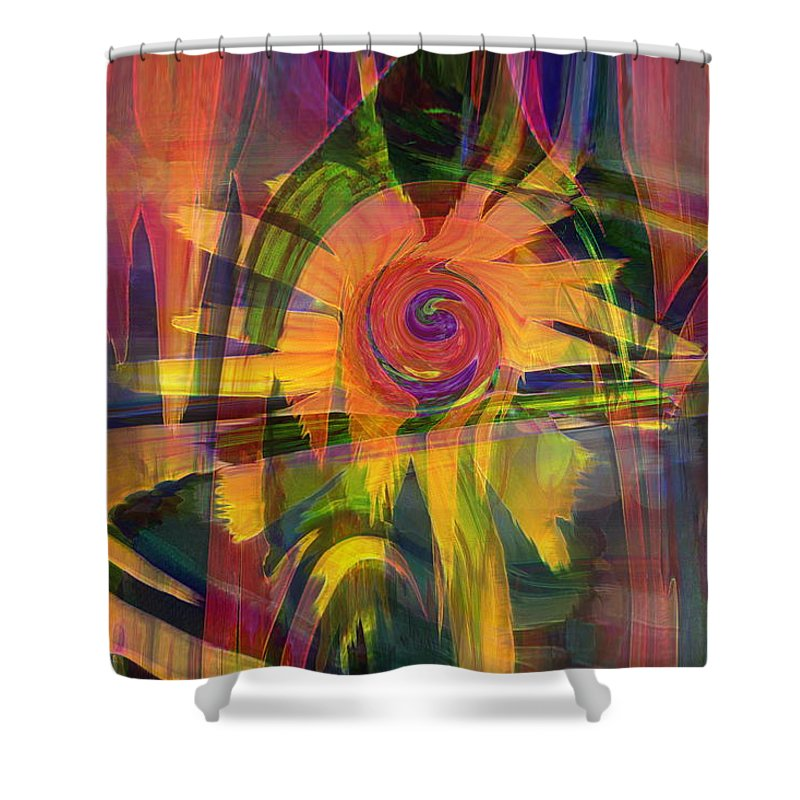 Abstract Art Shower Curtain featuring the digital art Oz And Poppies by Linda Sannuti