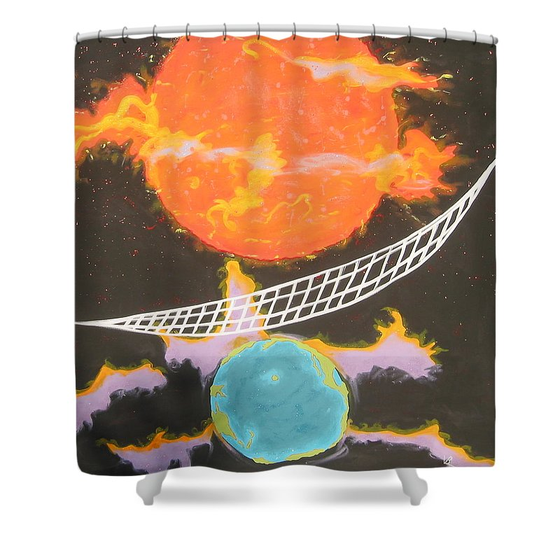 Environment Shower Curtain featuring the painting Ozone Net by V Boge