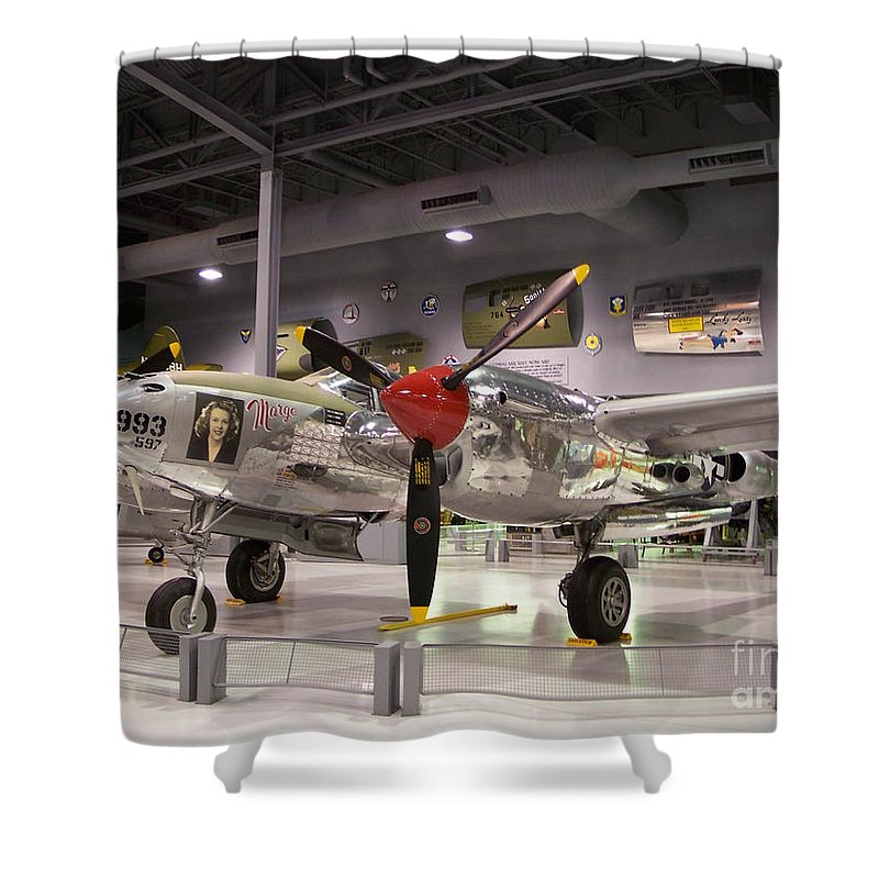 P-38 Shower Curtain featuring the photograph P-38 Lighting Marge by Tommy Anderson