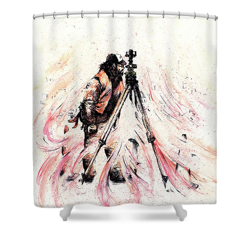 Figure Shower Curtain featuring the drawing P J by Rachel Christine Nowicki