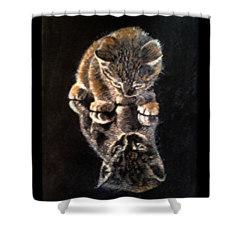 Kitty Shower Curtain featuring the painting P-nut Butter by Barbara Lemley