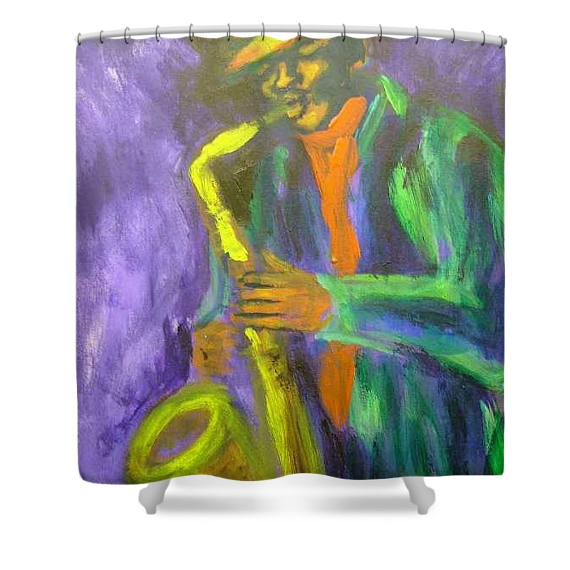 Painting Shower Curtain featuring the painting The M by Jan Gilmore