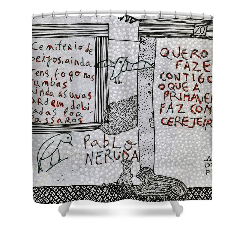 Pablo Neruda Shower Curtain featuring the drawing Pablo Neruda by Caterina Kuo
