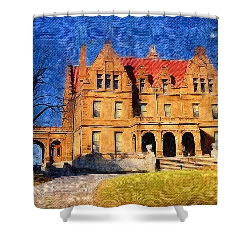 Architecture Shower Curtain featuring the digital art Pabst Mansion by Anita Burgermeister