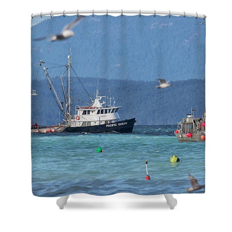 Herring Fishery Shower Curtain featuring the photograph Pacific Ocean Herring by Randy Hall