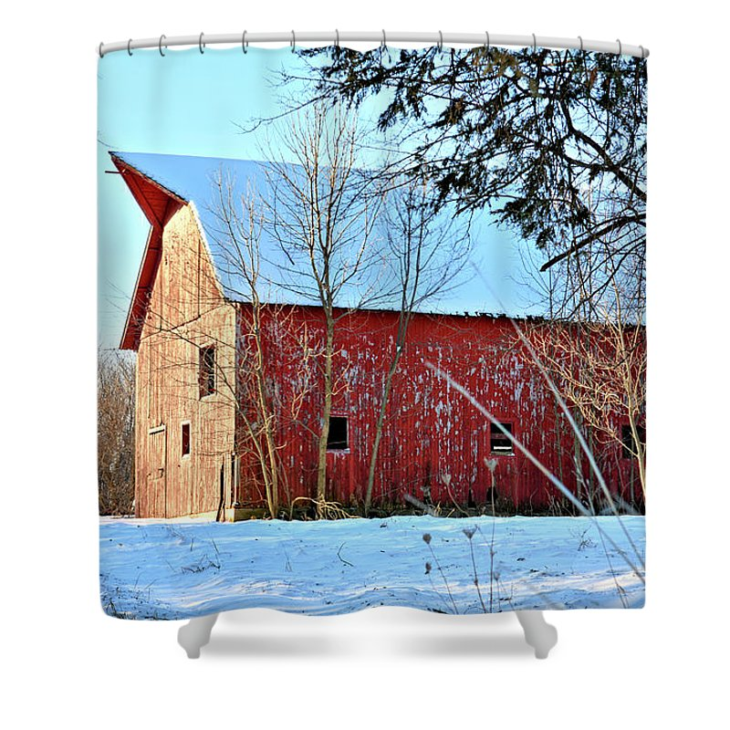 Barn Shower Curtain featuring the photograph Packard Red by Bonfire Photography