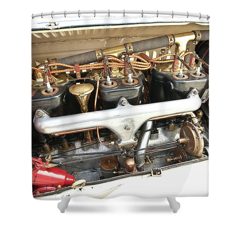 Packard Six Runabout Shower Curtain featuring the photograph Packard Six Runabout by Mariel Mcmeeking