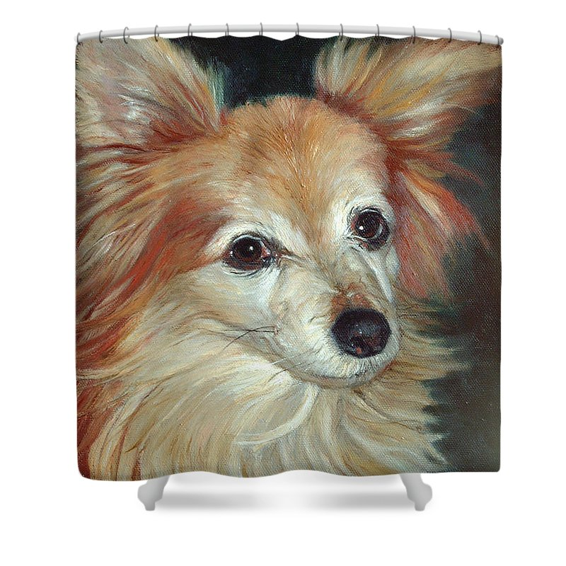Pet Portraits Shower Curtain featuring the painting Paco The Papillion by Portraits By NC