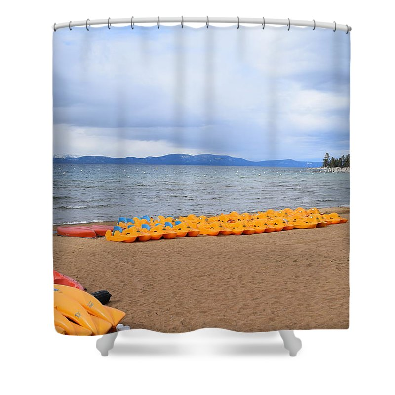 Lake Tahoe Shower Curtain featuring the photograph Paddle Boat Anyone by Christina McNee-Geiger