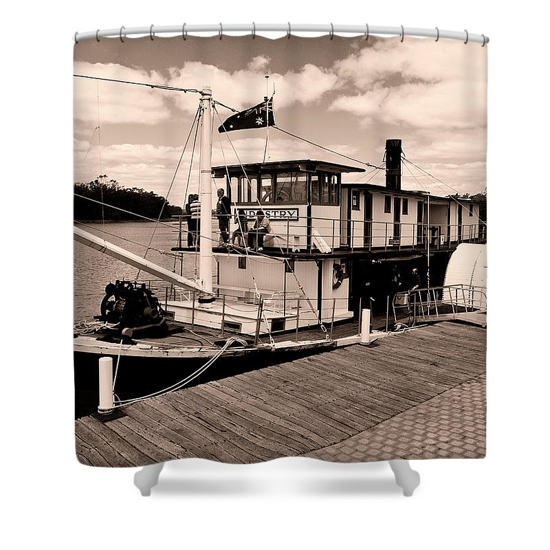 Murray River Shower Curtain featuring the photograph Paddlesteamer by Douglas Barnard