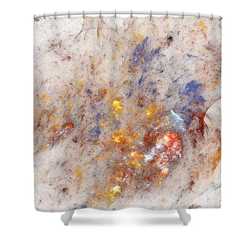 Abstract Shower Curtain featuring the digital art Paean To Pollack by Casey Kotas