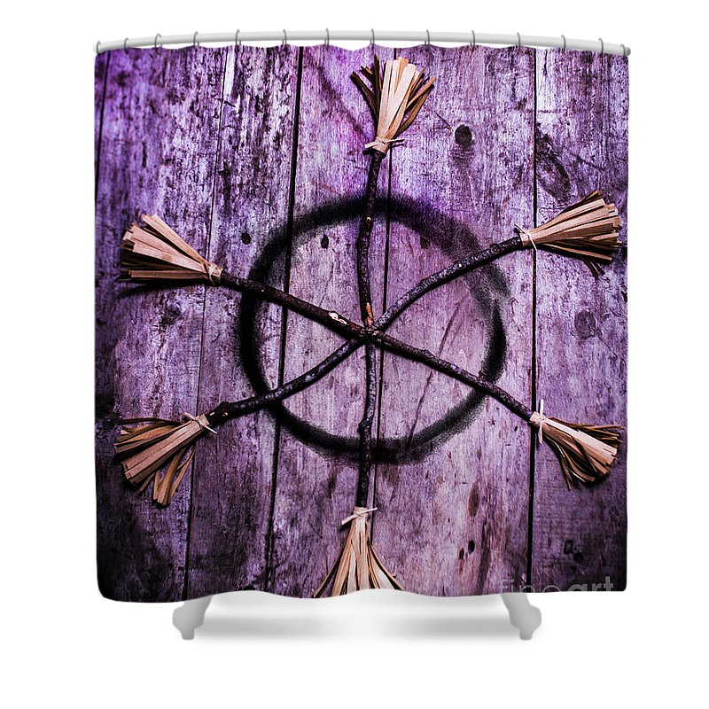 Pagan Or Witchcraft Symbol For A Gathering Shower Curtain for Sale ...
