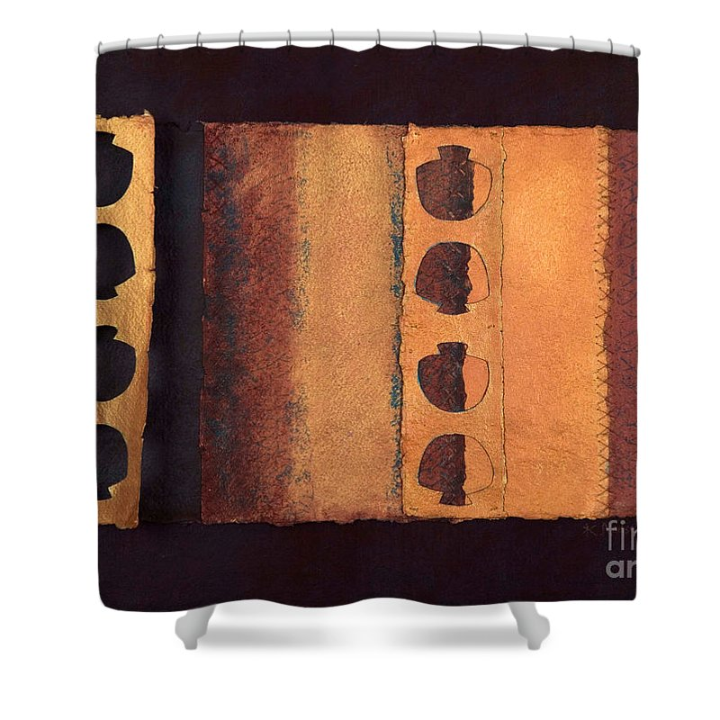 Pageformat Shower Curtain featuring the mixed media Page Format No 3 Tansitional Series  by Kerryn Madsen-Pietsch