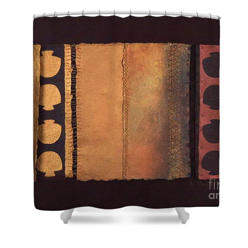 Artistbook Shower Curtain featuring the painting Page Format No.4 Tansitional Series by Kerryn Madsen-Pietsch