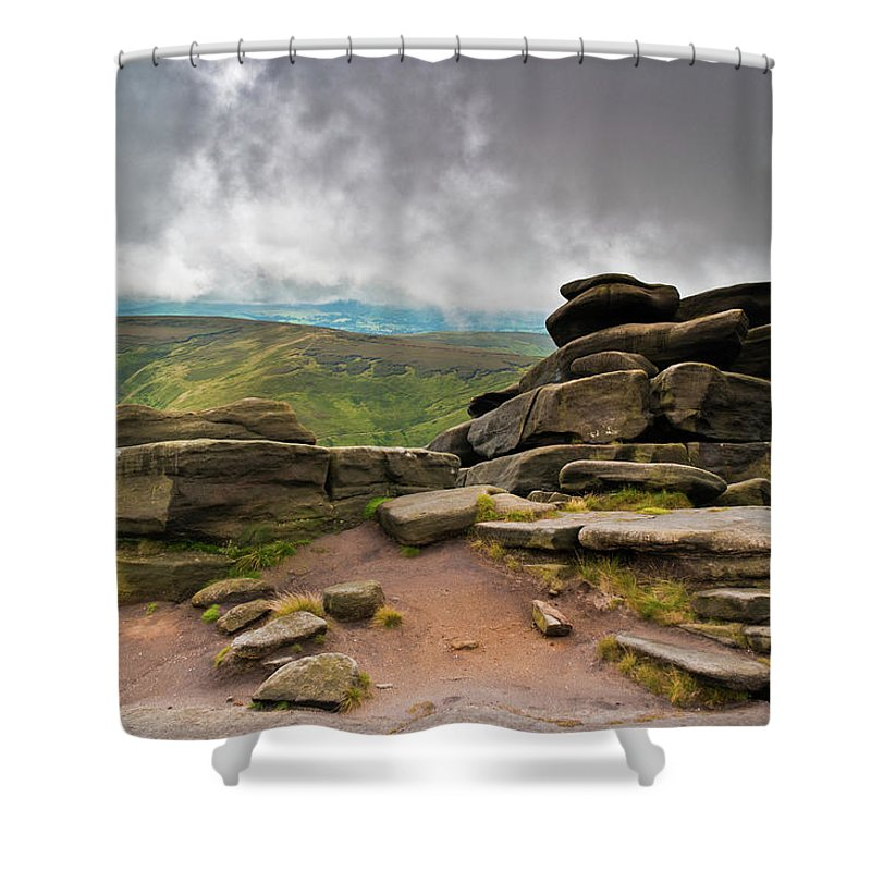 Landscape Shower Curtain featuring the photograph Pagoda #1, Kinder Scout, Peak District, North West England by Anthony Lawlor