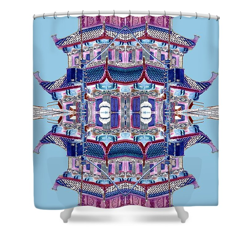 China Town Shower Curtain featuring the photograph Pagoda Tower Becomes Chinese Lantern 2 Chinatown Chicago by Marianne Dow