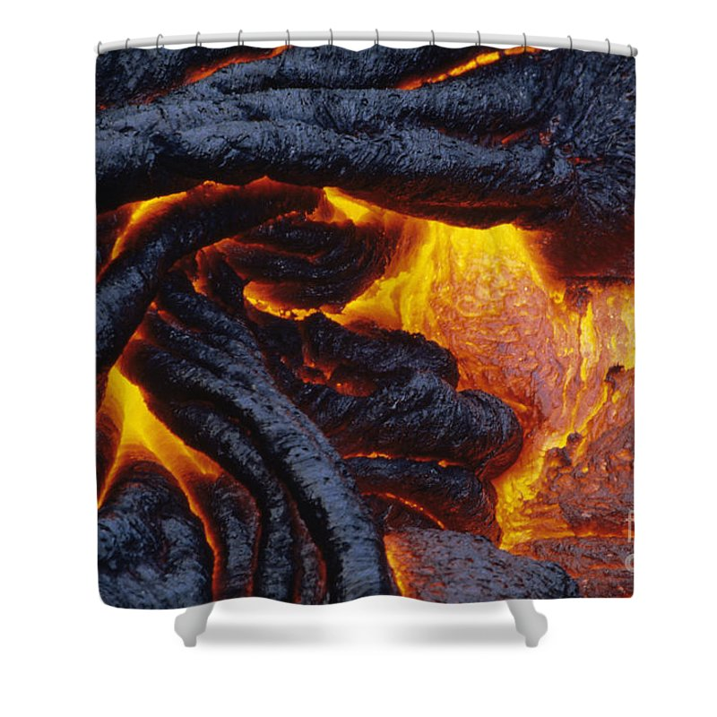 Abstract Shower Curtain featuring the photograph Pahoehoe Lava Texture by Ron Dahlquist - Printscapes