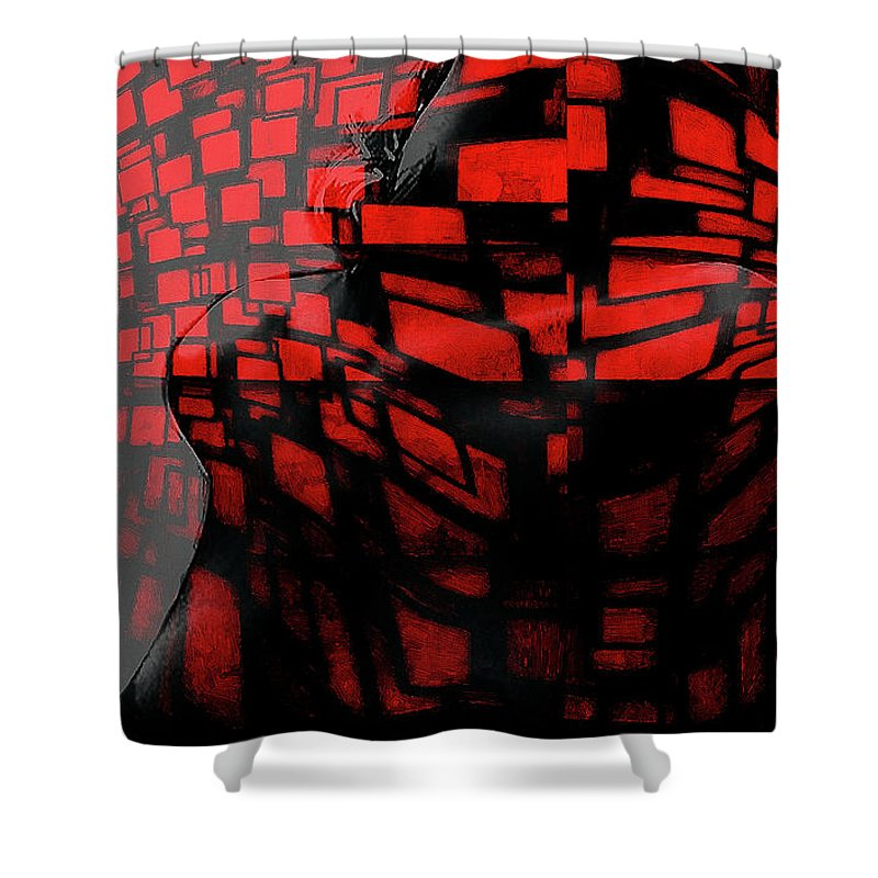 Pain Girl Female Woman Nude Naked Red Erotic Curves Boobs Tits Sensual Sex Sexy Love Lover Sensual Desire Seduction Shower Curtain featuring the painting Pain In Red by Steve K