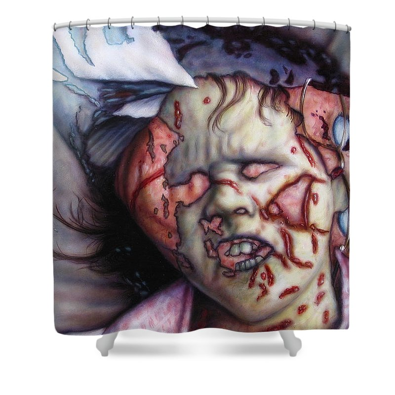 Pain Shower Curtain featuring the painting Pain by James W Johnson