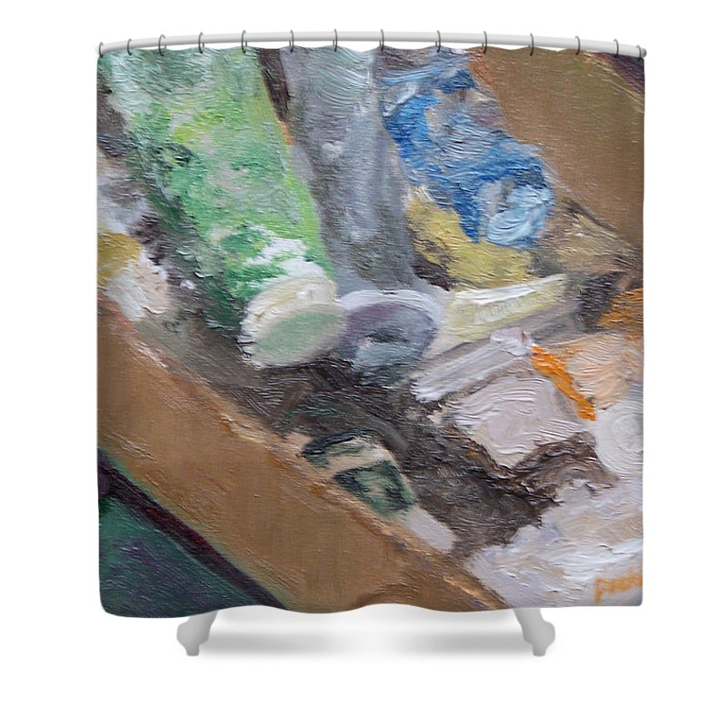 Paint Tubes Shower Curtain featuring the painting Paint Box by Alicia Drakiotes