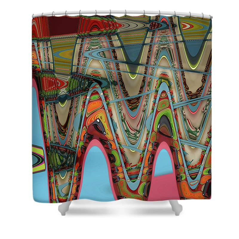 Waves Shower Curtain featuring the digital art Paint Flow Collision by Anne Cameron Cutri