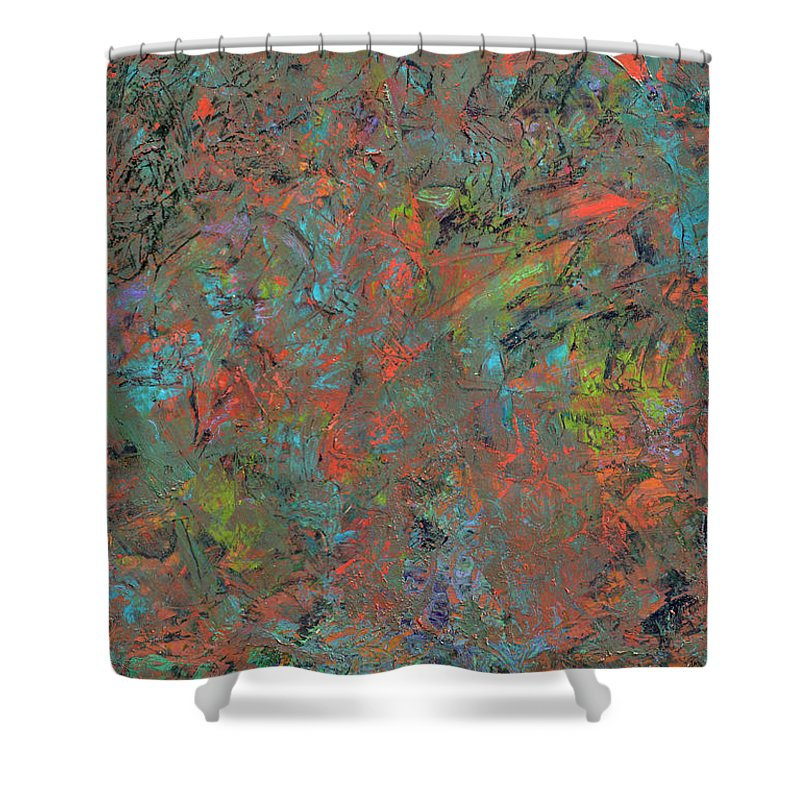 Abstract Shower Curtain featuring the painting Paint Number 17 by James W Johnson