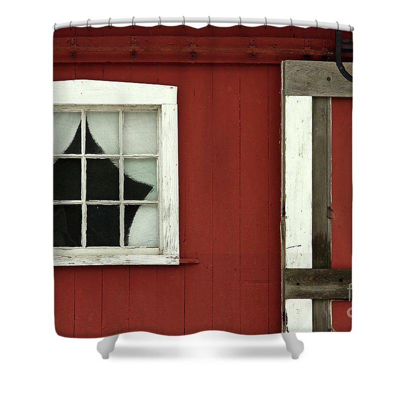 Red Shower Curtain featuring the photograph Painted Curtains by Karol Livote