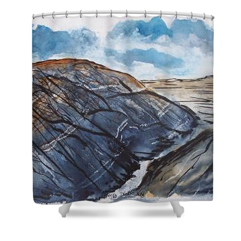 Plein Air Shower Curtain featuring the painting Painted Desert Landscape Mountain Desert Fine Art by Derek Mccrea