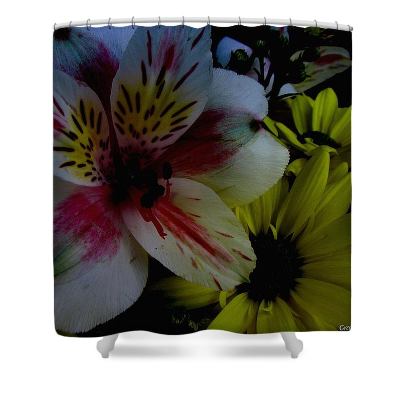 Art For The Wall...patzer Photography Shower Curtain featuring the photograph Painted Lily by Greg Patzer