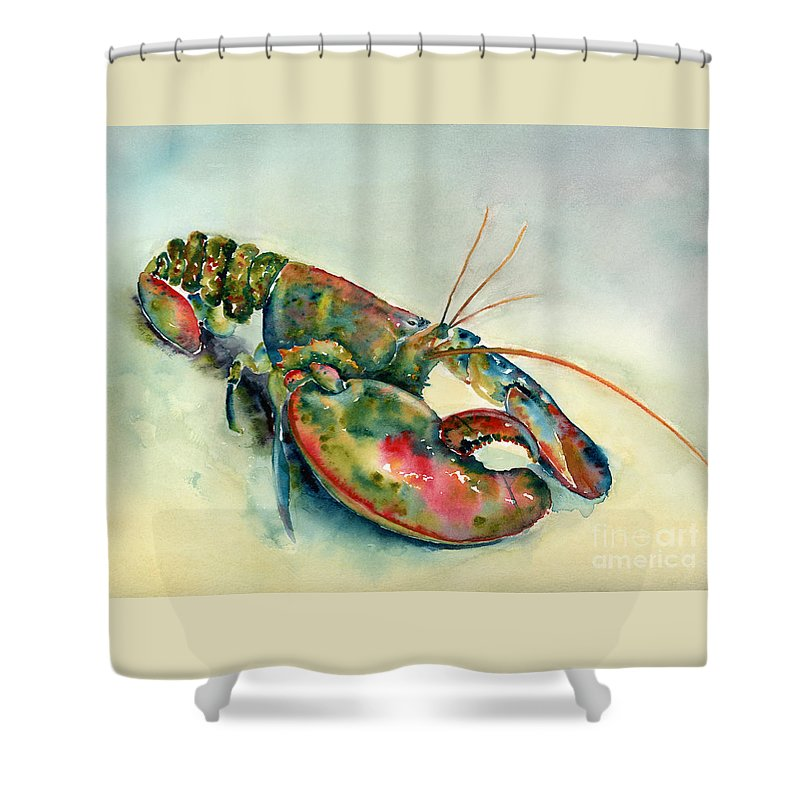 Lobster Shower Curtain Featuring The Painting Painted By Amy Kirkpatrick