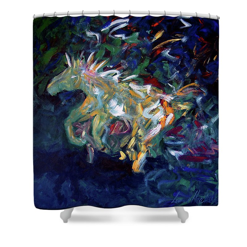 Abstract Horse Shower Curtain featuring the painting Painted Pony by Lance Headlee