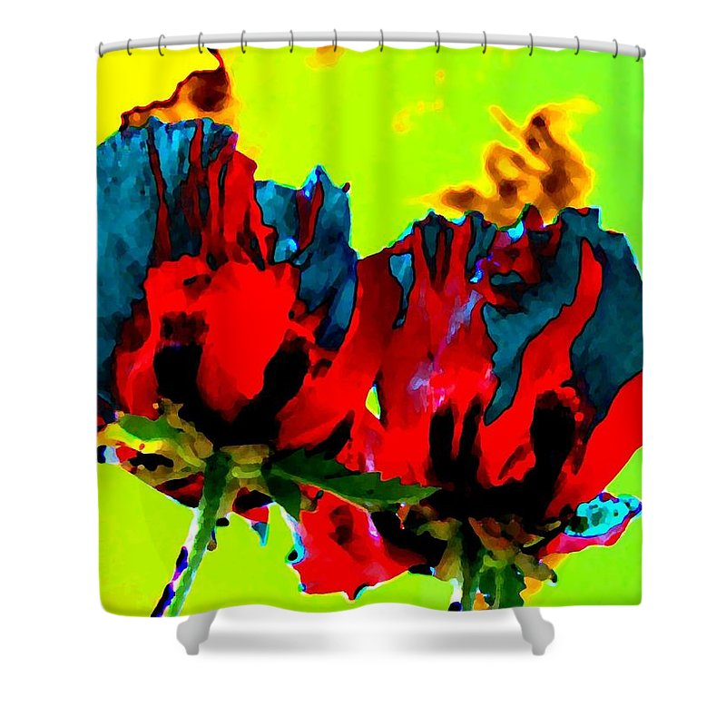 Poppies Shower Curtain featuring the digital art Painted Poppies by Will Borden