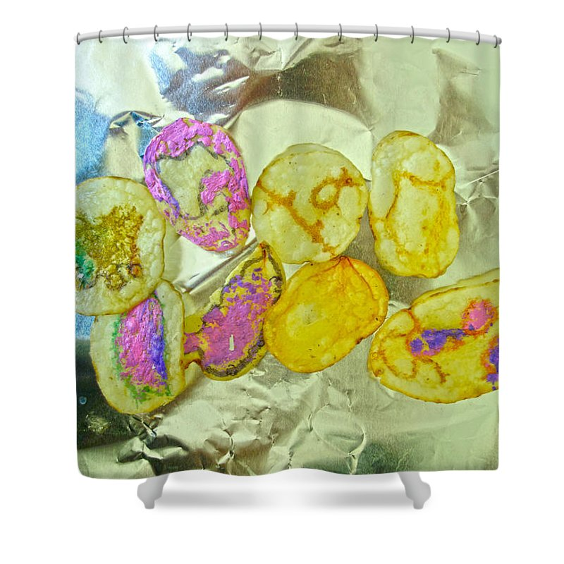Shower Curtain featuring the painting Painted Potato Chips by Reiner Poser