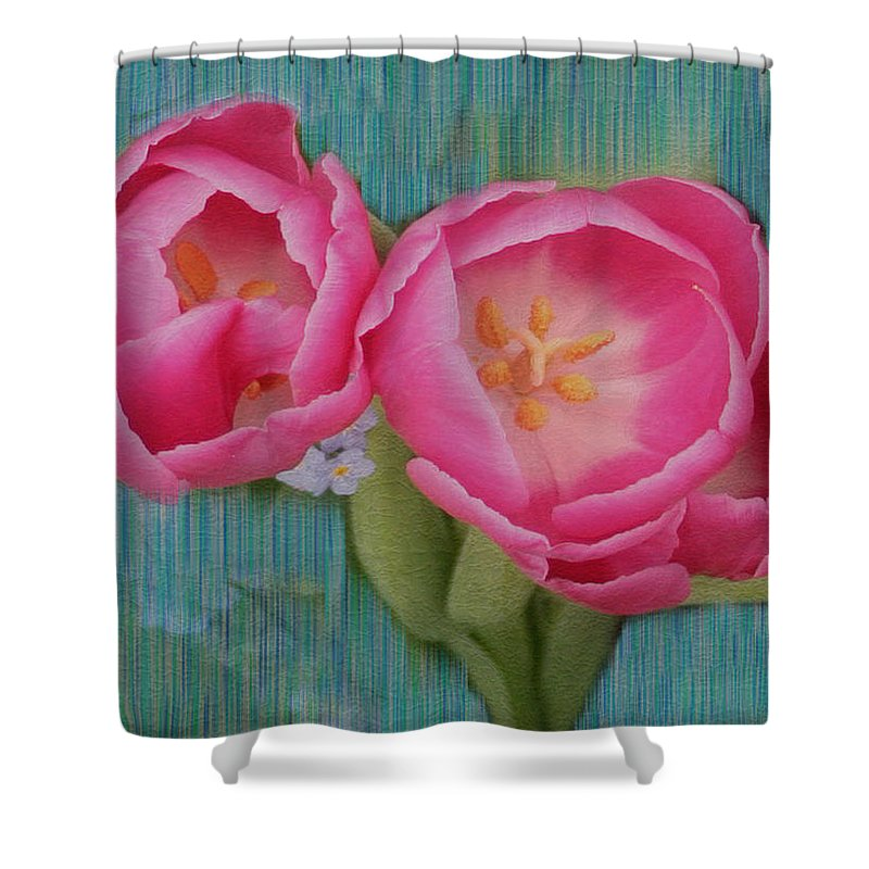 Flowers Shower Curtain featuring the photograph Painted Tulips by Linda Sannuti