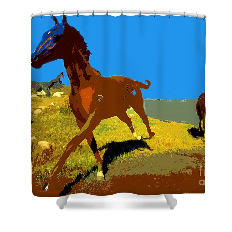 Horses Shower Curtain featuring the painting Painted War Horses by David Lee Thompson