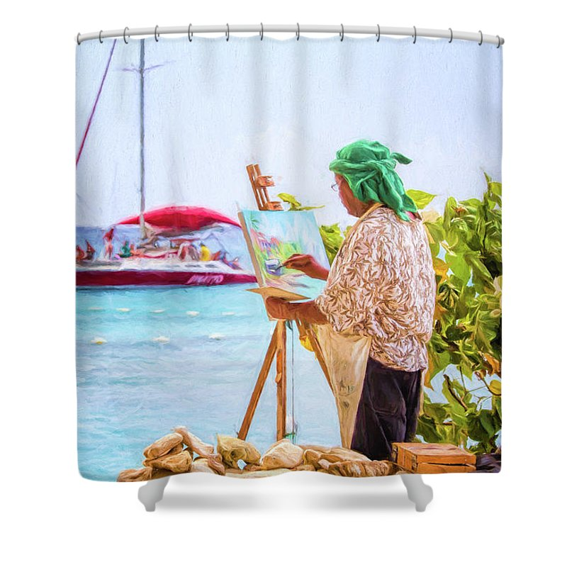 Barbados Shower Curtain featuring the photograph Painter At Work, Holetown Beach, Barbados by Eric Drumm