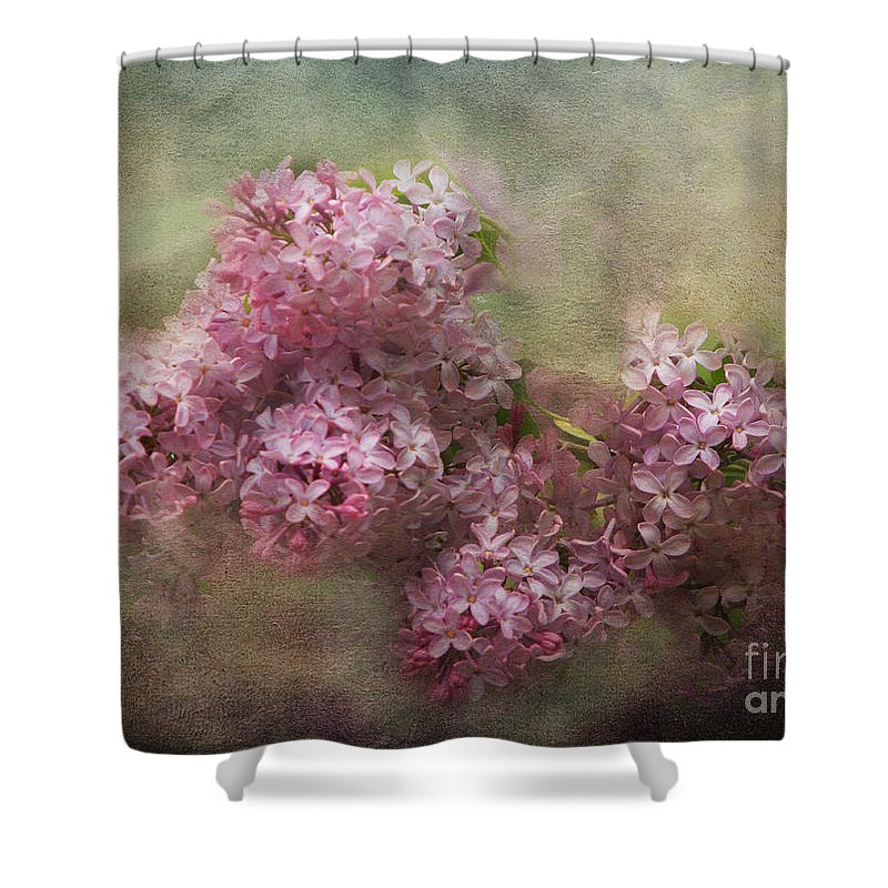 Lilac Shower Curtain featuring the photograph Painterly Lilac Blossom Photograph by Clare VanderVeen