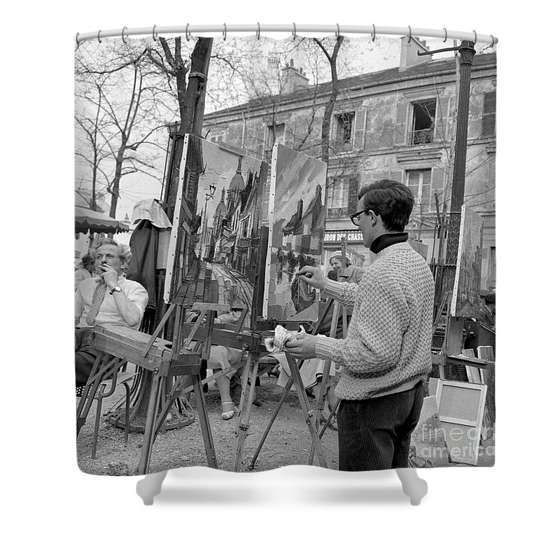 Montmartre Shower Curtain featuring the photograph Painters In Montmartre, Paris, 1977 by French School