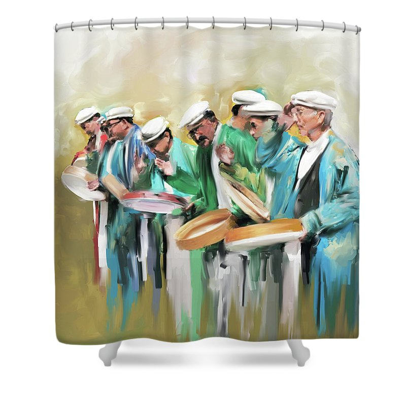 Hunza Shower Curtain featuring the painting Painting 800 1 Hunzai Musicians by Mawra Tahreem